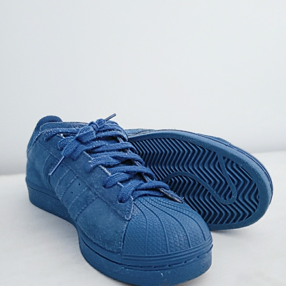 Blue Suede Adidas Superstars   Poshmark